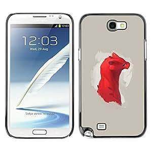 // PHONE CASE GIFT // Duro Estuche protector PC Cáscara Plástico Carcasa Funda Hard Protective Case for Samsung Note 2 N7100 / Dragón rojo lindo /