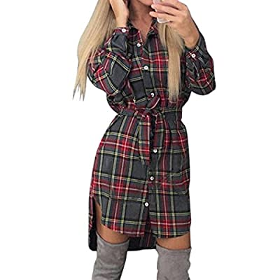 XWDA Plaid Dress Women Casual Long Sleeve Lattice Shirt Dress With Belt