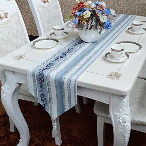 Glinning Fashion Mediterranean Simple Modern Light Blue Gray Plush Fabric Coffee Table Runner_30220cm_ Blue Gray (Table Mediterranean Coffee)