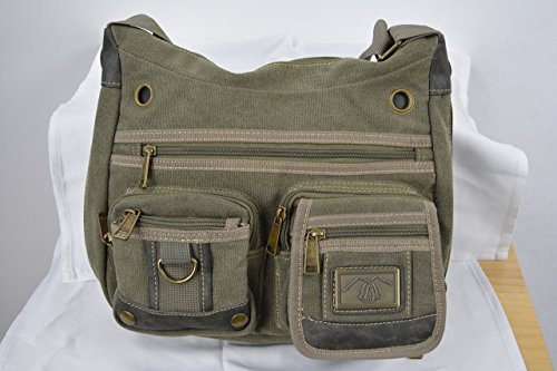 Camille Conceals Multi Pocket Medium Canvas Concealed Carry Cross Body Purse/Canvas Shoulder Bag with 7 zipper pockets. Room for a Large Tablet and much more. Holds a Semi Automatic or Revolver! -