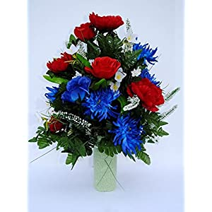 Spring Cemetery Vase Filler with Red and Blue Roses, White accent Flowers, and Blue Spider Lilies for Mother's Day, Memorial Day, July 4th or Father's Day 4