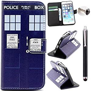 JOE Police Box Pattern PU Leather Cover and Touch Pen with Diamond Dust Plug for iPhone 6