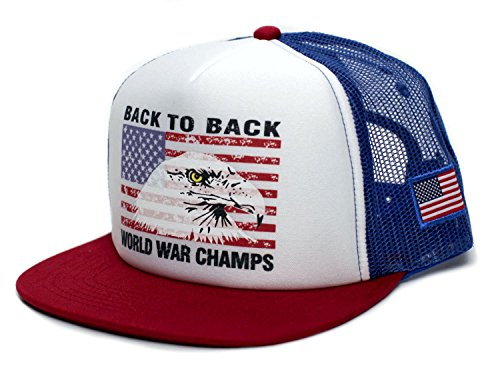 Eagle Back To Back World War Champs Unisex-Adult Cap -One-Size Royal/White/Red ()