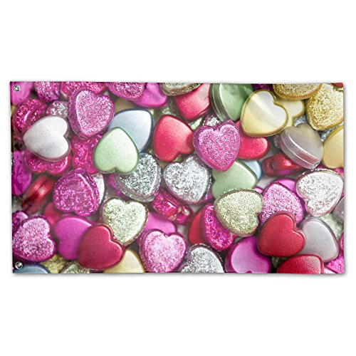 Garden Flag Yard Sweet Home Decoration 3x5 Feet Heart Candy