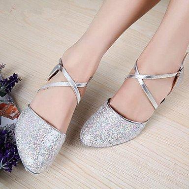 XIAMUO Nicht anpassbare Damen Tanzschuhe Latein Heels Stiletto Heel Praxis/Professional Schwarz/Rot/Silber/Gold, Schwarz, EU/US8.5 39/UK6.5/CN 40