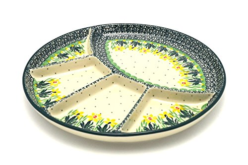 (Polish Pottery Dish - Divided Appetizer - Daffodil)
