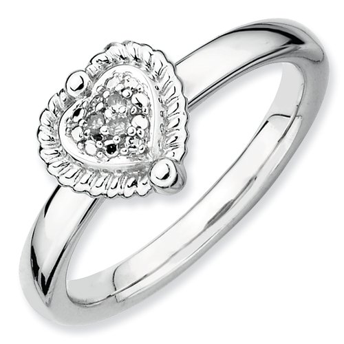 Sterling Silver Polished Prong set Rhodium-plated Stackable Expressions Heart Diamond Ring - Size 8 (Heart Jewelry Diamond Navel)