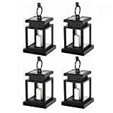 Patio Lawn Garden Best Deals - LED Solar Mission Lantern, LVJING 4 Pack Vintage Hanging Umbrella Lantern, Flameless Candle Light, Portable Clamp Lamp for Outdoor Garden Yard Lawn Patio Tent Pavilion Camping, Waterproof, Black