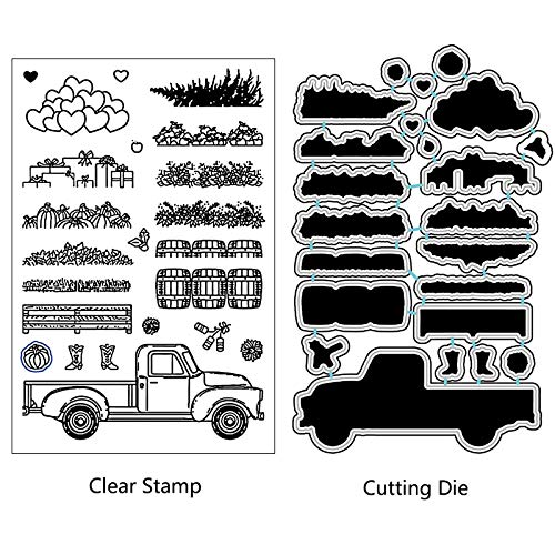 MeikoTan 1 Set Agricultural Truck Metal Cutting Dies and Stamps Stencils for DIY Scrapbooking Photo Album Paper Card Decoration Craft Embossing Dies