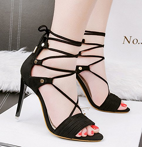 Sandals Stiletto Trendy High Black Shoes Toe Dressy Women's Tie Strappy Self Open Aisun Heel 8BPRqfW4w