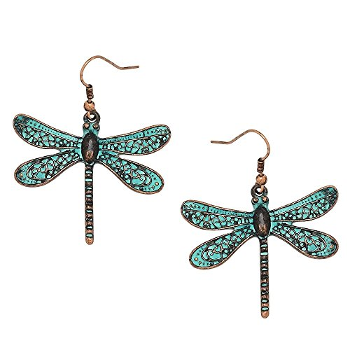 Liavy's Vintage Dragonfly Fashionable Earrings - Vine Filigree - Fish Hook - Patina Verdigris ()