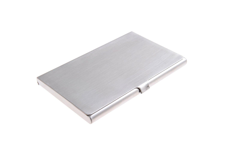 Portabiglietti da visita in acciaio inox di alta qualità, elegantemente sobrio con superficie finemente abrasa, Mod. 302-02 (DE)