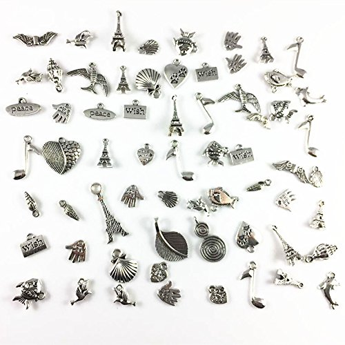 JulieWang Wholesale 100 piece/pack Mixed Silver Plated Flower Animals Birds Snowflower Charms Pendants for Jewelry Making DIY Handmade (Small Bird Charms)