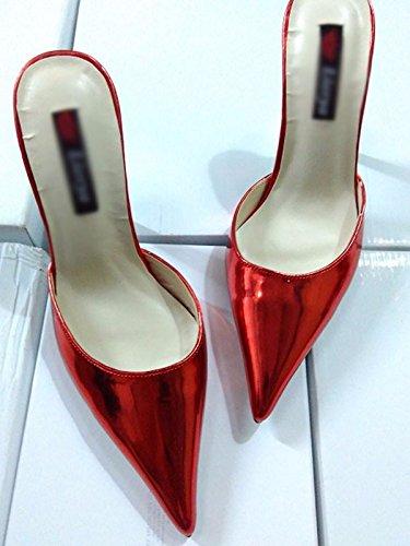 AWXJX Tongs Femme Chaussures Avec Fine fait talon haut similicuir confortable faites glisser la moitié de Baotou Red 8.5 US/39 EU/6 UK HYhBqJCy