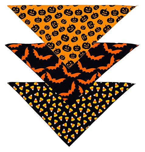 Dogs For Halloween (Native Pup Halloween Dog Bandana | 3 Pack Scarfs | Bats, Candy Corn and Pumpkin Bandanna Handkerchief)