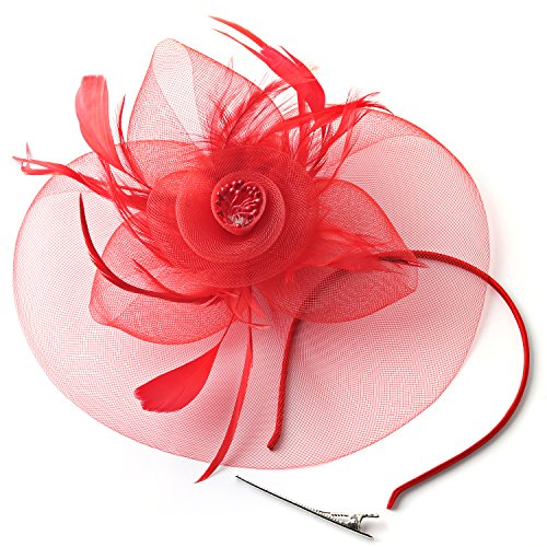 FENTORY Fascinators for Women with Veil Mesh Wedding Cocktail Hats Tea Party Derby Headband (Red 1)