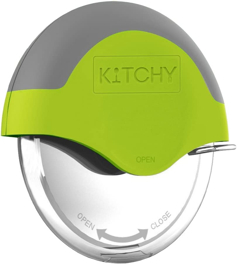Kitchy Pizza Cutter Wheel - Super Sharp and Easy To Clean Slicer, Kitchen Gadget with Protective Blade Guard (Green): Kitchen & Dining