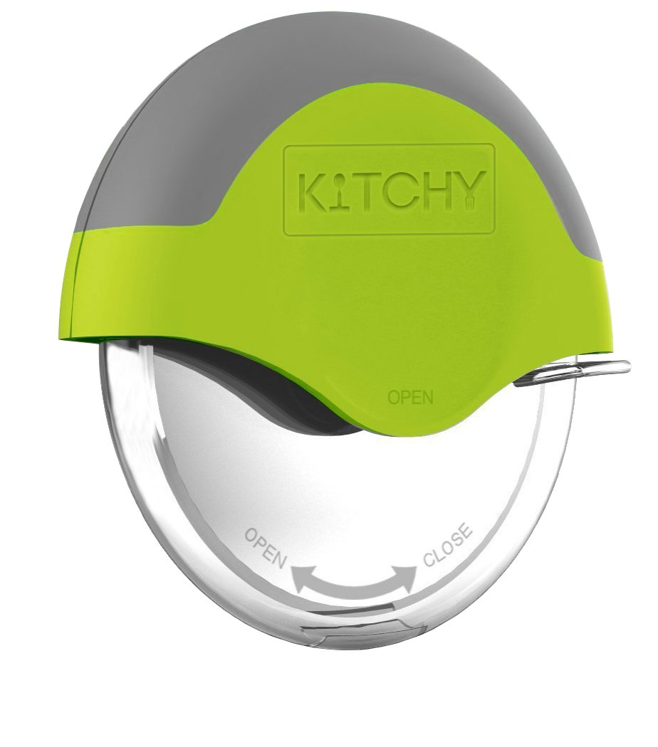 Kitchy Pizza Cutter Wheel - Super Sharp and Easy To Clean Slicer, Kitchen Gadget with Protective Blade Guard (Green) by Kitchy