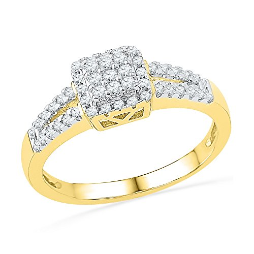 Size - 9 - Solid 10k Yellow Gold Round White Diamond Engagement Ring OR Fashion Band Channel Set Square Shape Solitaire Shaped Ring (1/4 - Square Shaped Women