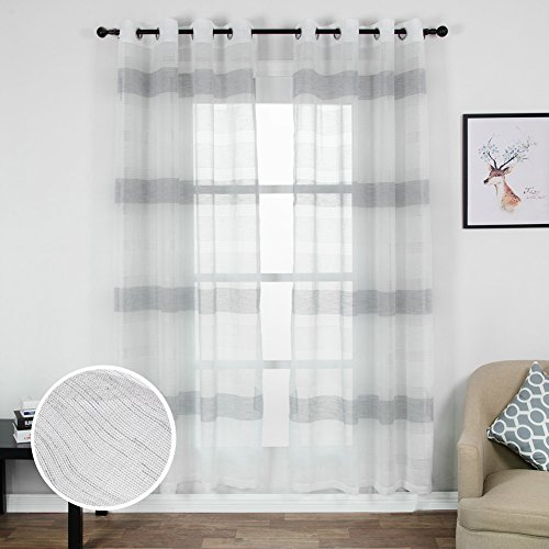 Top Finel Voile Window Sheer Curtains Parallel Striped Panels For Living Room Bedroom,54W x 96L inch,Grommets,Set of 2 panels,Grey