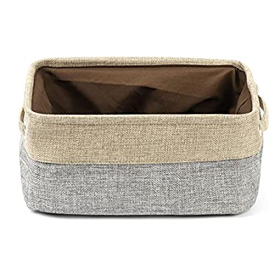 uxcell Collapsible Fabric Storage Basket w Dual Handles, Foldable Canvas Toy Bins for Laundry Clothes Storage Home Organizer for Bedroom Office, Closet, Kitchen & More (Gray, S) - ECO-FRIENDLY & DURABLE MATERIAL: This fabric basket is made of durable linen &Thicken Environmental EVA,Fabric outer and polyester film lining which can keep your stuff safely,Durable and high-quality material make this storage basket last a good long time 2 STURDY ROPE HANDLES: This Storage Container comes with two sturdy handles on both sides.They are delicately sewn and easy to grab,rope handles for easy slide in and pull out of shelves or closet,They are attached with metal grommets to the basket and the handles themselves are made from soft cotton rope COLLAPSIBLE STORAGE BIN: The foldable feature of Fabric Drawer means that it is space-saving and convenient to take along,You could simply fold them up when not in use or when needing to transport - living-room-decor, living-room, baskets-storage - 51W%2BOdlglIL. SS400  -