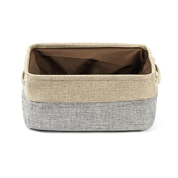 uxcell Collapsible Fabric Storage Basket w Dual Handles, Foldable Canvas Toy Bins for Laundry Clothes Storage Home Organizer for Bedroom Office, Closet, Kitchen & More (Gray, S) - ECO-FRIENDLY & DURABLE MATERIAL: This fabric basket is made of durable linen &Thicken Environmental EVA,Fabric outer and polyester film lining which can keep your stuff safely,Durable and high-quality material make this storage basket last a good long time 2 STURDY ROPE HANDLES: This Storage Container comes with two sturdy handles on both sides.They are delicately sewn and easy to grab,rope handles for easy slide in and pull out of shelves or closet,They are attached with metal grommets to the basket and the handles themselves are made from soft cotton rope COLLAPSIBLE STORAGE BIN: The foldable feature of Fabric Drawer means that it is space-saving and convenient to take along,You could simply fold them up when not in use or when needing to transport - living-room-decor, living-room, baskets-storage - 51W%2BOdlglIL. SS570  -