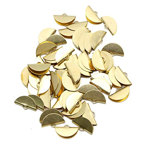 Monrocco 60 Pieces Ribbon Semi Circle Crimp End Clip Clamp Cord Cap Tip for DIY Jewelry Making Findings,Gold ()