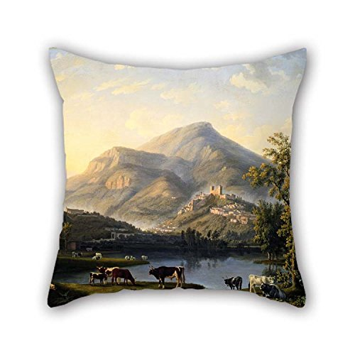 Oil Painting Jakob Philipp Hackert - Veduta D??Itri (Landscape Con A View De Itri) Almohadacaso Mejor Para Interior Esposa...