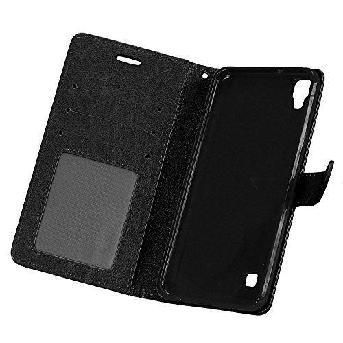 Laybomo Schuzhülle LG X style Hülle Ledertasche Weiches Gummi Silikon TPU Haut Beutel Schützend Stehen Bilderrahmen Brieftasche Schale Tasche Handyhülle für LG X style (Schwarz) Schwarz
