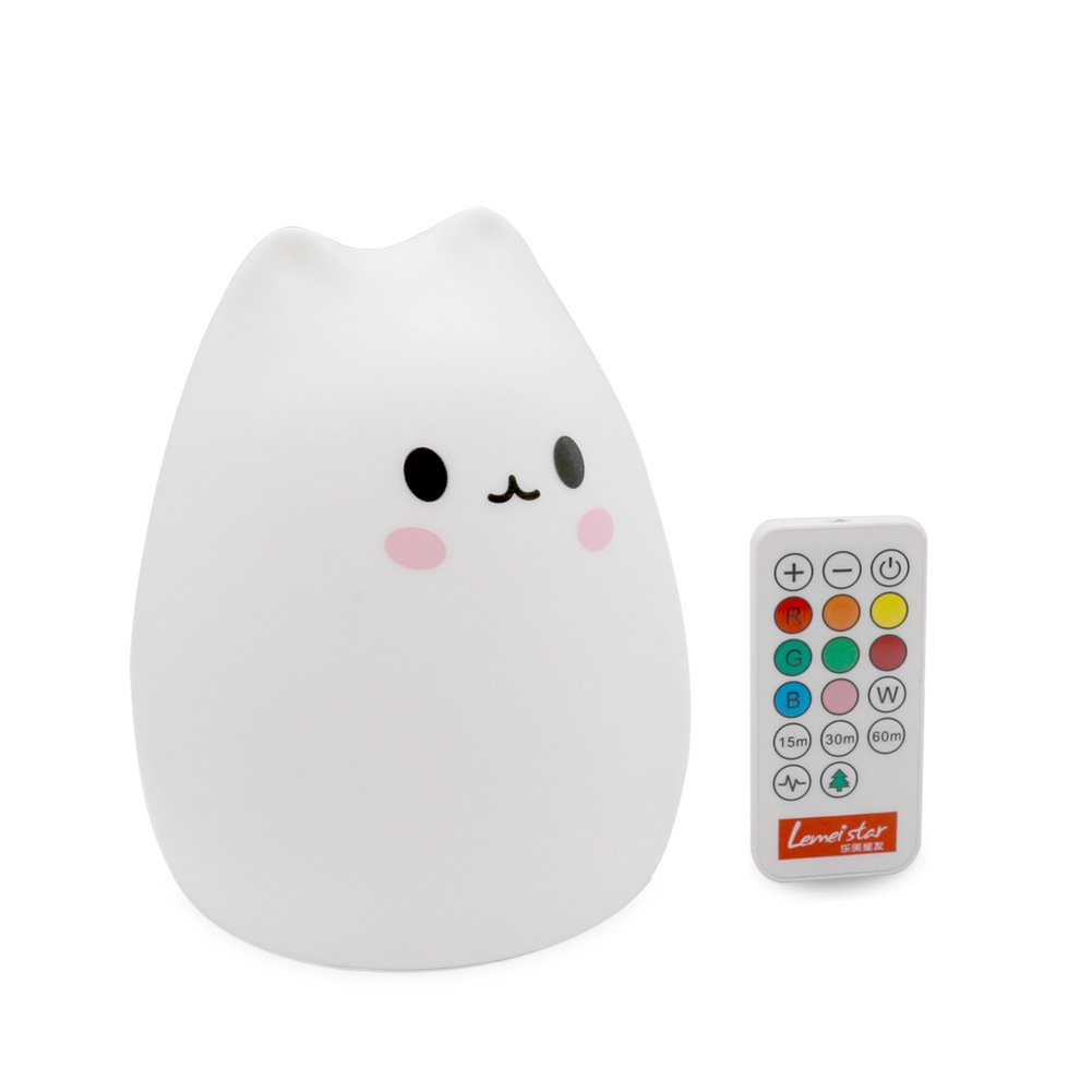 MOKOQI Timer Soft Silicone Night Light Rechargeable+Remote Control Nursery Colored Christmas Night Lamp Gifts for Baby Children Girls Bedroom Table Light BPA-Free(Remote Control Soft Cat)