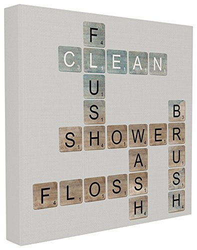 Canvas Wall Ornaments - The Stupell Home Décor Collection Scrabble Bathroom Illustration Stretched Canvas Wall Art, 17 x 17