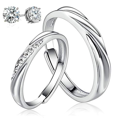 Aeici 925 Sterling Silver Couple Rings Cubic Zirconia Wedding Ring for His & Her Promise Ring Adjustable (Women&Men) (Silver Best Couple Rings)
