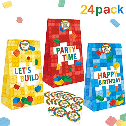 24 Packs Building Blocks Goodie Candy Treat Bags, Color Bricks Theme Building Block Party Supplies, Kids Birthday Party Favor Bags, Including Thank You -