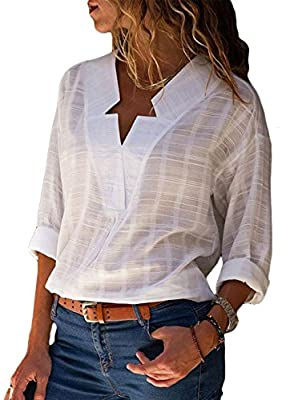 Happy Sailed Women Casual V Neck Cuffed Sleeve Print Loose Fit T Shirt Blouses Tops S-XXL