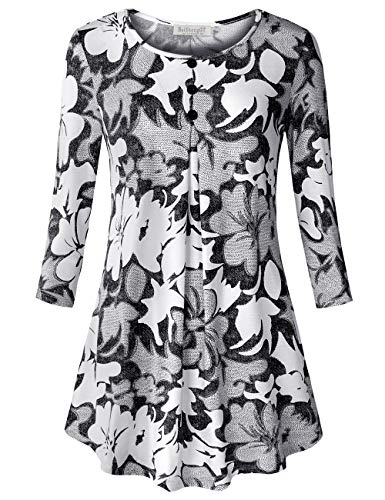 BAISHENGGT Women's 3/4 Sleeve Buttons Pleated Front Tunic Top