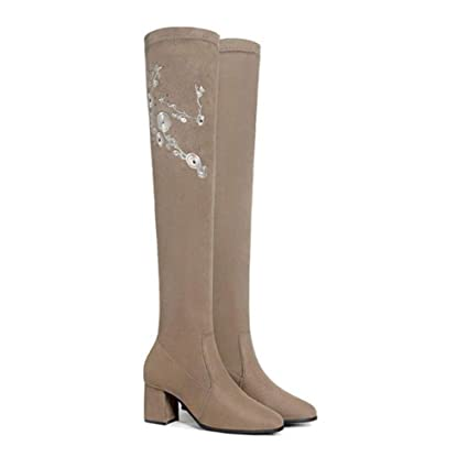 8f6172962d2 Amazon.com  YaXuan Ladies Embroidered Over-The-Knee Boots