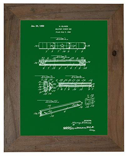 Military Ribbon Bar Patent Art Green Print in a Barnwood Frame (16