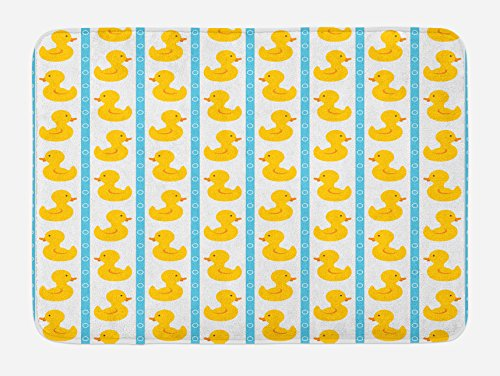 k Bath Mat, Yellow Duckies with Blue Stripes and Small Circles Baby Nursery Play Toys Pattern, Plush Bathroom Decor Mat with Non Slip Backing, 29.5 W X 17.5 L Inches, White ()