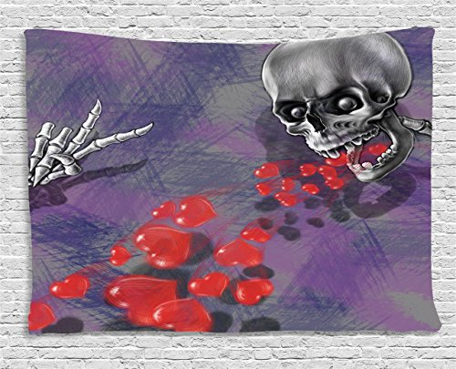 Skull Decor Tapestry by Ambesonne, Skeleton in Love Throw Out Puke of Hearts Deadly
