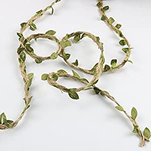65 Feet Natural Jute Twine, Artificial Vine Fake Foliage Leaf Plant with Artificial Green Leaves for Macrame, Wall Decor Hanging, Wedding Bouquet Wrapping 2