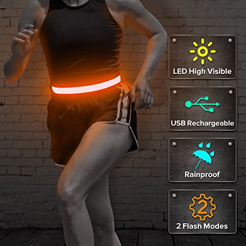BSeen LED Waist Belt, USB Rechargeable Glow in the Dark Reflective Elastic Running Belt, High Visiblity Safety Gear for Running, Cycling, Jogging, Hiking (Orange) (Glow Belt)