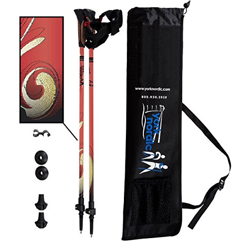 York Nordic Red Burner Hiking Nordic Walking Poles w flip Locks, Detachable feet Travel Bag – Pair