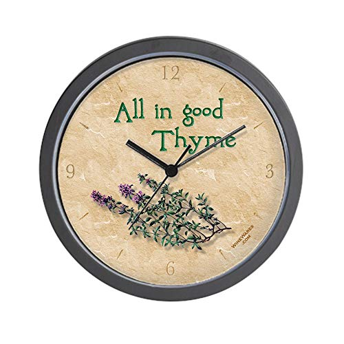 (CafePress All in Good Thyme' Gourmet Herb Kitchen Clock Unique Decorative 10