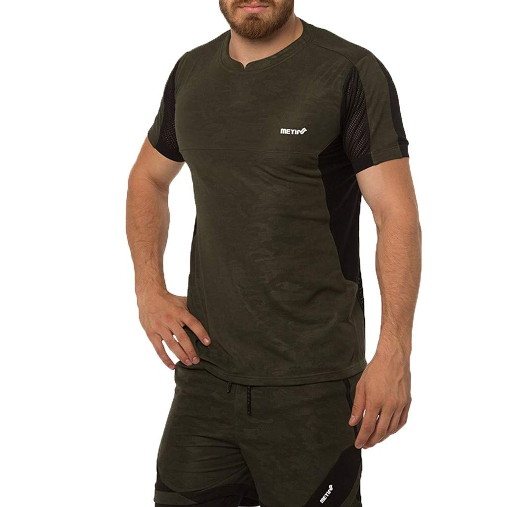 Benficial Men's Casual Fitness Fast Drying Elastic Short Sleeve Short Pants Sports Suit Army Green by Benficial