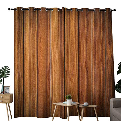 (NUOMANAN Pattern Curtains Rustic,Vertical Wooden Planks Image Cottage Cabin Life in Countryside Theme, Pale Caramel and Orange,Living Room and Bedroom Multicolor Printed Curtain Sets 54
