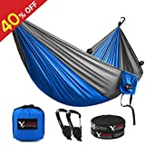 KAMOTA Durable Camping Hammock Lightweight and Compact Parachute Nylon Specifications: 1.Material: 210T Nylon Taffeta. 2.Tail Knot: Double Sheet Bend. 3.Color: Blut and Grey / Green and Red. 4.Size: 300*200cm (118 x 79 in) support up to 500lbs. 5.A...
