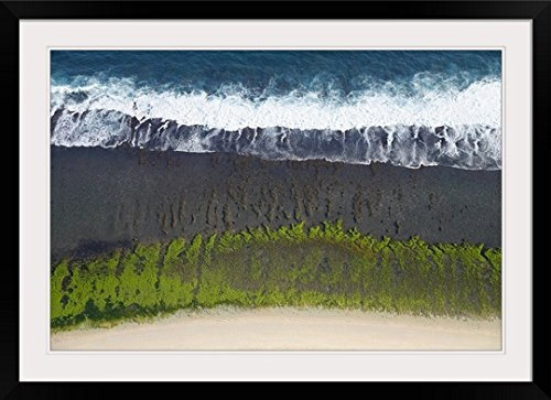 GreatBIGCanvas ''Aerial View Over The Reefs And Beaches Of The Bukit Peninsula Of Bali, Indonesia'' by Sean White Photographic Print with Black Frame, 36'' x 24'' by greatBIGcanvas