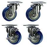 Service Caster – 4'' Blue Polyurethane Wheel – 2 Stainless Steel Swivel and 2 Stainless Steel Swivel Casters w/Brakes