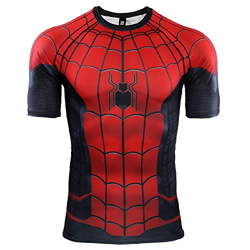 Spider-Man Far from Home Short Sleeve Men's Compression Shirt 3D Print T-Shirt (X-Large, Red) -