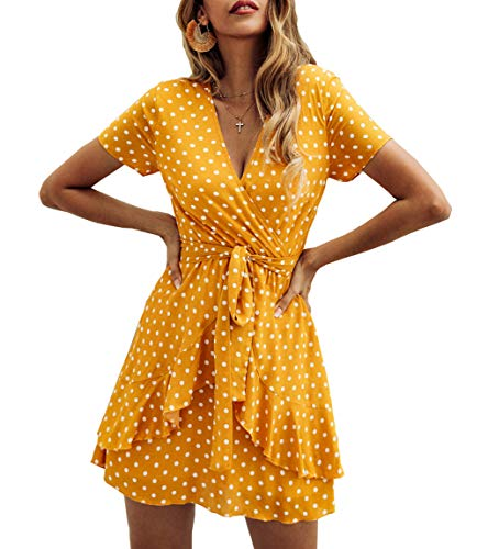 Finerease Women's Ruffle Short Sleeve V Neck Polka Dot Swing A Line Casual Mini Dress with Tie Belt (Yellow, Medium)
